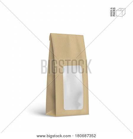 Mock-up pack for coffee, tea, sugar, pepper or spices, filled, folded. Template for your design and branding