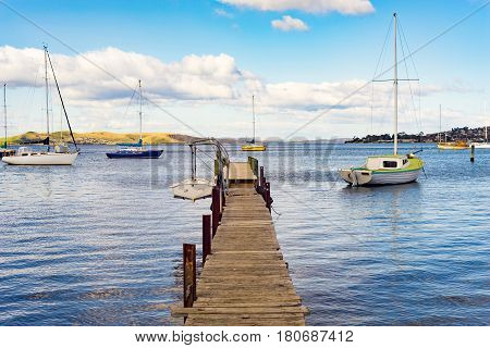 Boats sitting alongside a jetty in a harbour in Sandy Bay, Hobart, Tasmania, Australia.