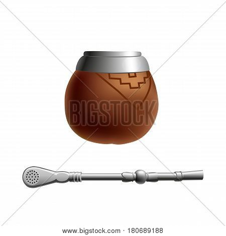 Isolated colored realistic brown calabash for yerba mate paraguay tea and metal syphon stick bombilla on white background
