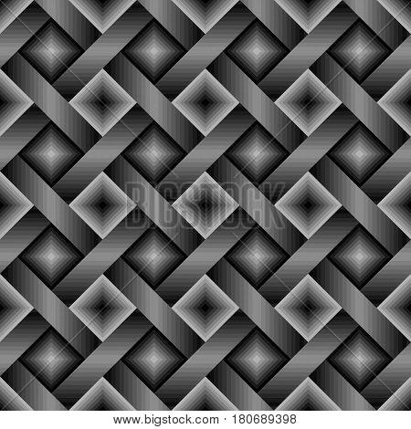 Seamless dark monochrome geometric pattern with gray black lines and squares. Interweaving or interlacing of stripes