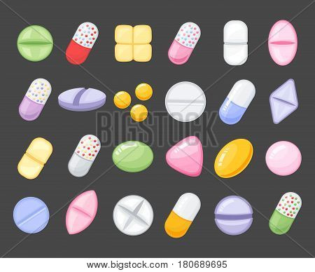 Medical pills and capsules vector set.Medicine cartoon pill, drug, table, antibiotics, medication dose painkillers, antibiotics, vitamins and aspirin. Cartoon flat style illustration