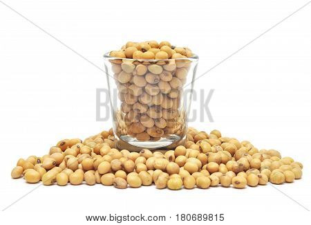 Soybean In Glass Isolated On White Background