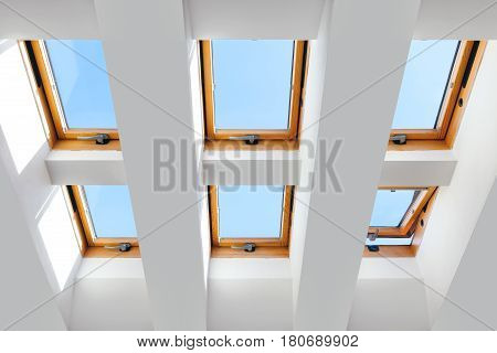 group of the six skylights windows. Large luxury skylights.