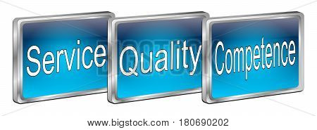 blue Service Quality Competence Button - 3D illustration