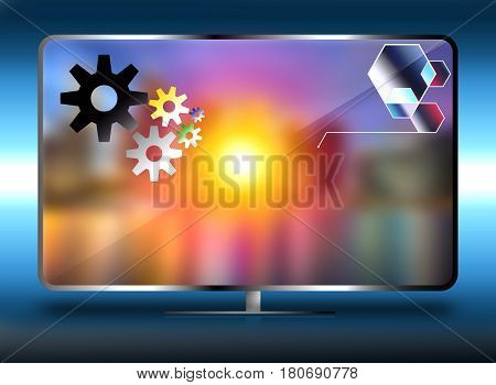 Smart TV with large screen , mixed media