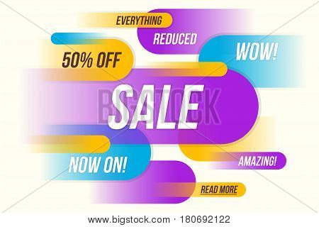 Colorful horizontal dynamic style sale banner design template sticker poster. Vector illustration.