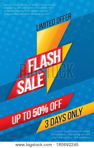 Flash sale price offer deal vector labels templates stickers designs with lightning. Vector illustration