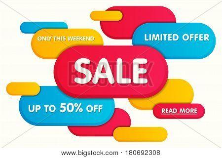 Colorful horizontal sale banner design template poster. Vector illustration.