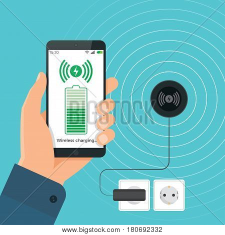 The process of wireless charging a smartphone using a device. Vector illustration.
