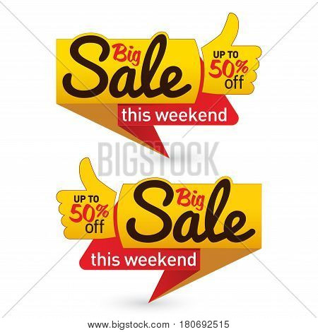 Big sale price offer deal vector labels templates stickers designs with like gesture. Vector illustration