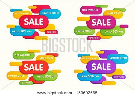 Set of colorful horizontal sale banners designs templates. Vector illustration.