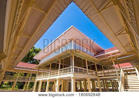 Maruekhathaiyawan Palace most wood palace house in cha-am Phetchaburi Province,Thailand