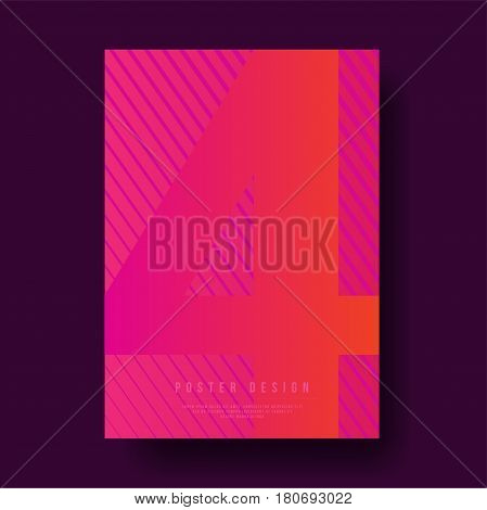 Abstract Number 4 Text with Geometric Line Cover Design - Vector illustration template