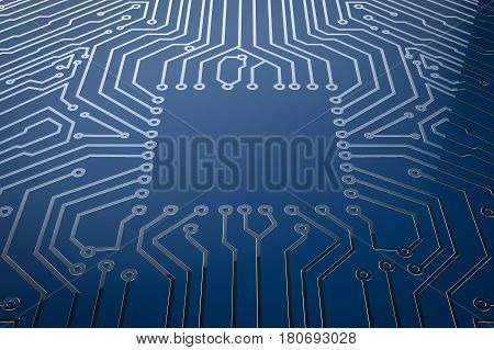 Empty Square On Blue Circuit Board