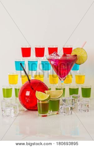 Colorful Set Of Drinks, Color Drink Decorated With Fruit, Many Color Kamikaze Drink, Shot Drinks