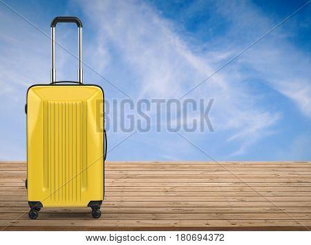 3d rendering yellow hard case luggage on wooden floor