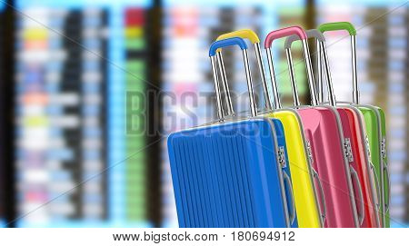 Hard Case Luggages With Airport Background