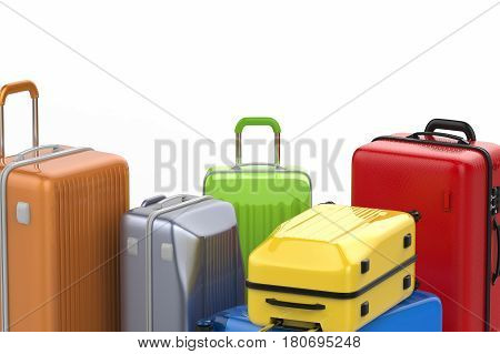 Hard Case Colorful Luggages Isolated On White