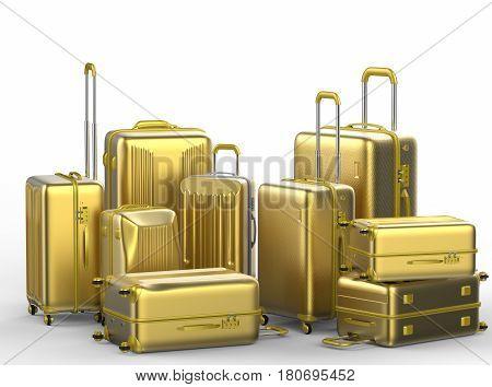 Gold Hard Case Luggages On White Background