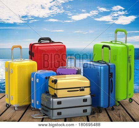 3d rendering hard case colorful luggages on wooden floor
