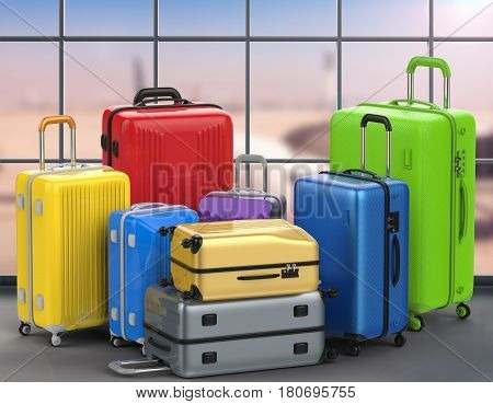 Hard Case Colorful Luggages With Airport Background