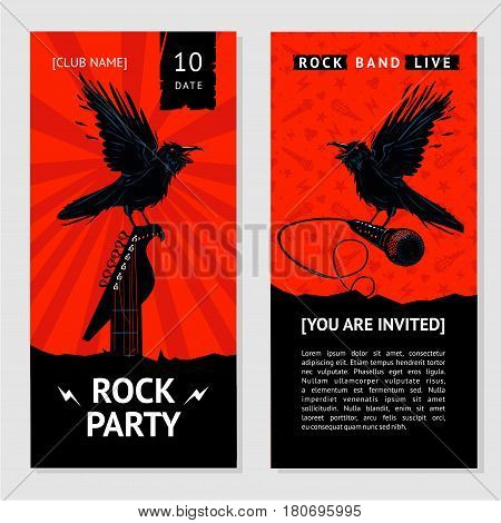 Concert invitation with bird, guitar and microphone. Heavy metal party.