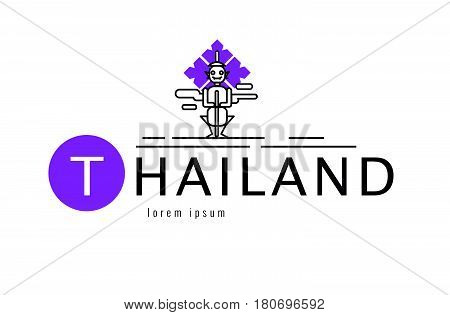 Thailand logo. Scene of  Big giant. Bangkok famous Landmark. flat line design element. vector illustration