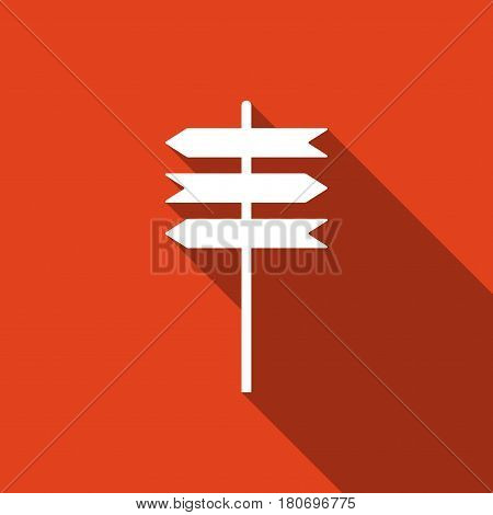 Road sign icon. Signpost flat icon with long shadow. Pointer symbol. Vector Illustration