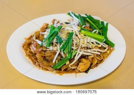 Thai Fried Noodles Called Pad Thai And Vegetables