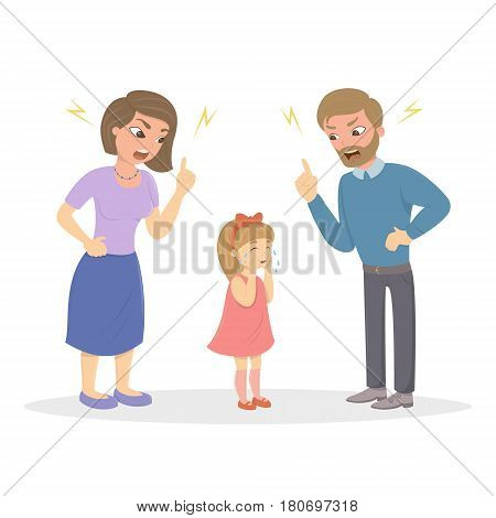 Parents abuse the girl. Angry mom and dad yell at little scared kid. Characters on white background. Children's abusing.