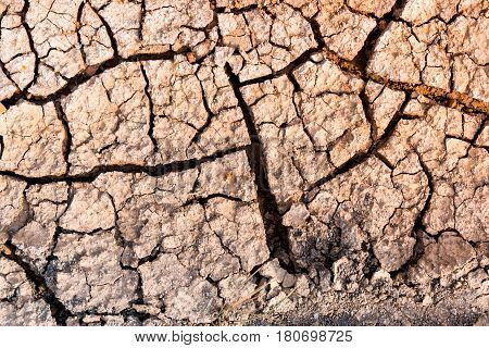 Nature background of cracked ground caused by drought with sunny. Impact of global warming or climate change concept.