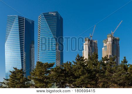 SONGDO, SOUTH KOREA -MAR 04: Songdo Central Park is the green space plan,inspired by NYC Central Park. Central Park is a green oasis in the midst of Korea's first international city on March 04, 2015