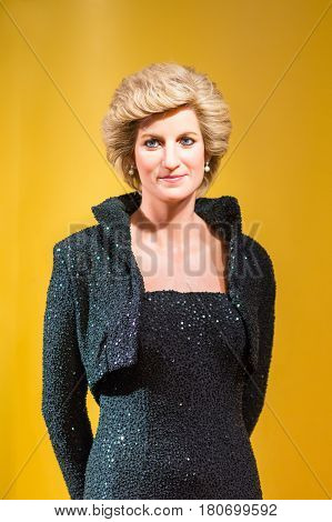 BANGKOK - JAN 29: A waxwork of Diana queen on display at Madame Tussauds on January 29, 2016 in Bangkok, Thailand. Madame Tussauds' newest branch hosts waxworks of numerous stars and celebrities