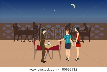 Getting visitors to place. Waitress accompanies visitors to their tables in restaurant. Night time restaurant.