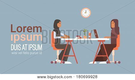 Arab Business Woman Talking Discussing Chat Communication Sitting at Office Desk Flat Vector Illustration