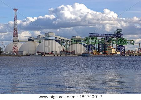 An modern oil harbor built on a river