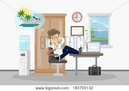 Man wants on vacation. Businessman at office drams of vacation at summer on the beach.