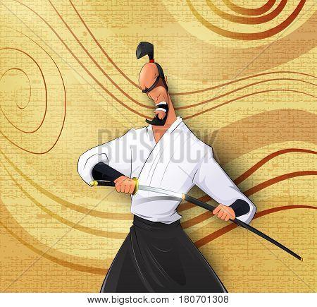 Cartoon llustration of Japanese samurai preparing to attack. Layered cartoon illustration. Easy to edit