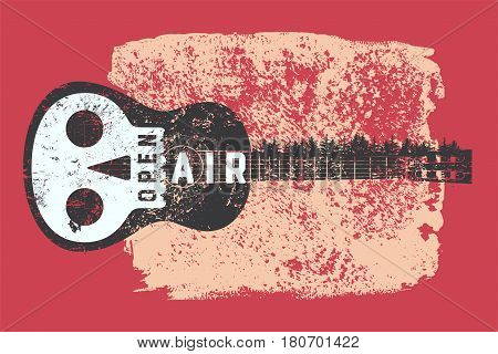 Open Air festival party typographic vintage style grunge poster design. Retro vector illustration.