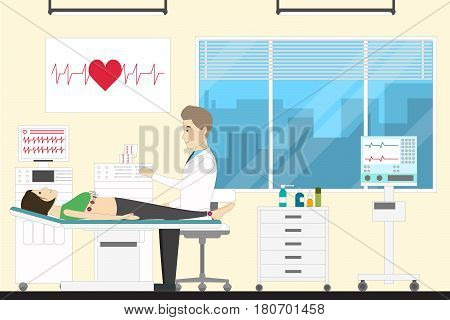 ECG at clinic. Doctor examines a woman.