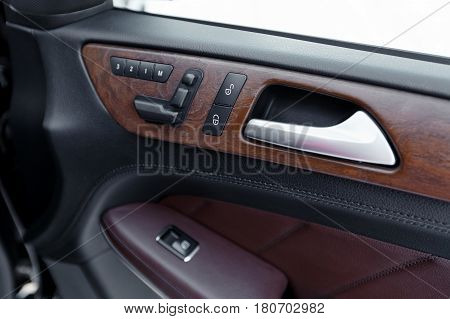 Door Panel With Power Window Controller. Detail Of The Car Interior