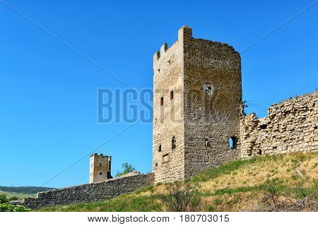 The Ruins of ancient Genoese fortress in Feodosia, Crimea, Russia