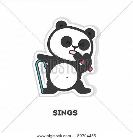 Isolated singing panda sticker on white background.