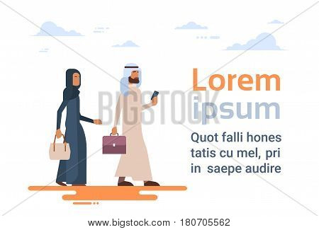 Arab Couple Muslim People Business Man and Woman Traditional Clothes Arabic Characters Flat Vector Illustration