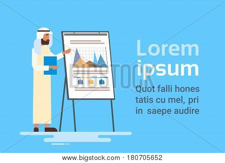 Arab Business Man Presentation Flip Chart Finance, Arabic Businessman Training Conference Flat Vector Illustration