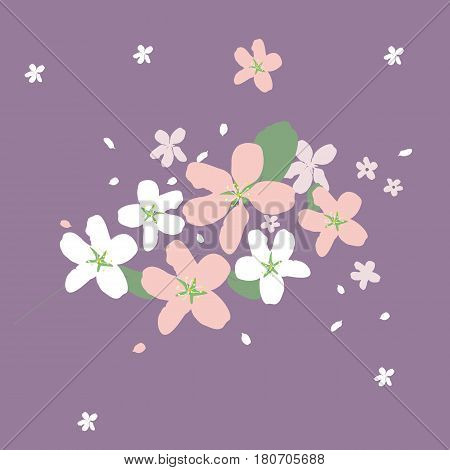 Beautiful flowers on a purple background. Vector