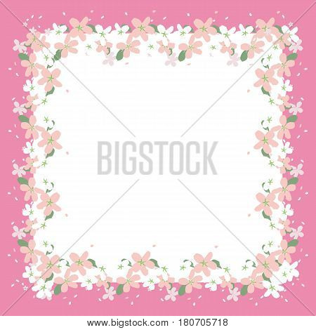 Frame of beautiful flower in a pink trim. Greeting card. vector