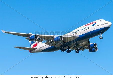 London, UK, April 9 2011: 4-engines Boeing 747