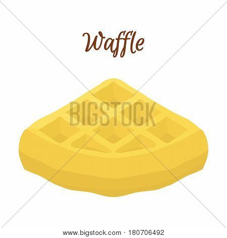 Sweet belgian waffle for breakfast. Made in cartoon flat style. Restaurant meal with maple syrup.