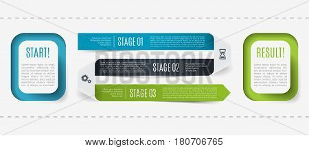 Modern infographic, process description from start to result, 3 steps. Template for presentation, chart, graph. Vector illustration